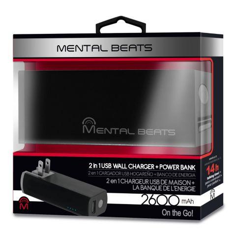 Mental Beats 2600mAh 2in1 Power Bank - Gray by Mental Beats