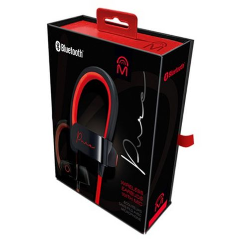 Pure Bluetooth Earbuds With Microphone - Red/Black by Pure