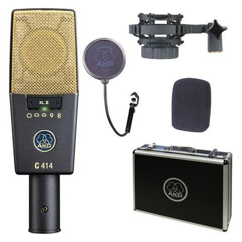 AKG Acoustics C414 XL II Large Diaphragm Condenser Vocal Microphone, 5 Selectable Polar Patterns, Transformerless Design by AKG