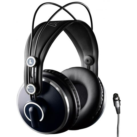 AKG Acoustics Professional studio headphones with 40mm drivers and closed back design ideal for studio recording and monitoring applications. Precisely balanced, 16Hz - 22 kHz response, self adjusting headband and 3 meter cable. by AKG