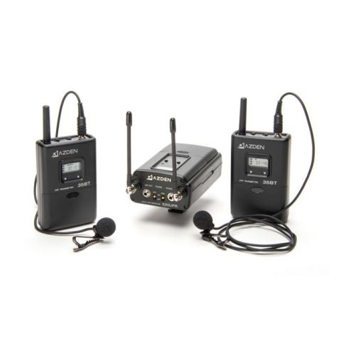 Azden 330LT UHF Dual-Channel Wireless Mic System with Two Bodypacks by Azden