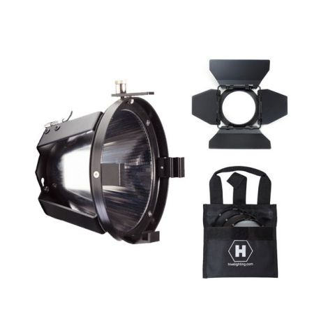 Hive Lighting C-PRK Par Reflector Attachment, Barndoors and 3 Lens Set (Medium, Wide, Super Wide) with Bag for Bee 50-C and Wasp 100-C by Hive Lighting