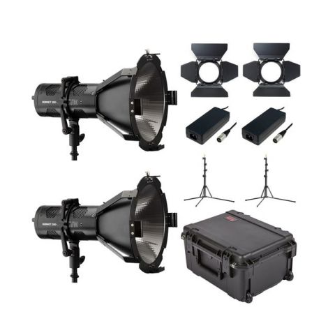 Hive Lighting HLS2C-PS-2LKIT Hornet 200-C Par Spot 2 Light Kit with 2 Stands and Case (Custom Foam) by Hive Lighting