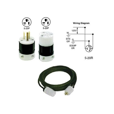 Altman Extension Cable, 2-Pin Plus Ground Edison Connectors, 20 Amp - 100'