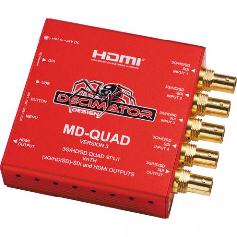 DECIMATOR  MD-QUAD 3G/HD/SD-SDI Quad Split Multi-Viewer with SD/HD/3G-SDI & HDMI Outputs Version 3 by Decimator