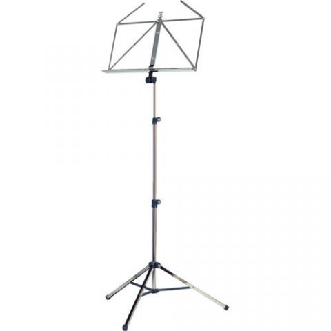 K&M 10065 Three-Piece Folding Sheet Music Stand (Nickel) by KM