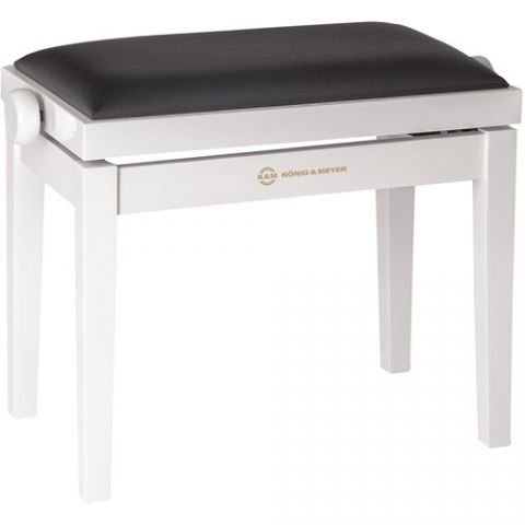 K&M 13711 Piano Bench Wooden Frame with White Glossy Finish by KM