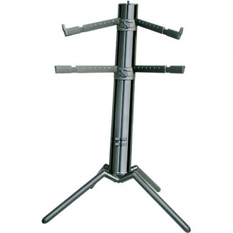 K&M 18860 Spider-Pro Double-Tier Keyboard Stand with Microphone Boom Connection and Tilt Action (Black) by KM