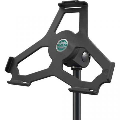 """K&M iPad Air 2 Holder for 5/8"""" Microphone Stand (Black) by KM"""