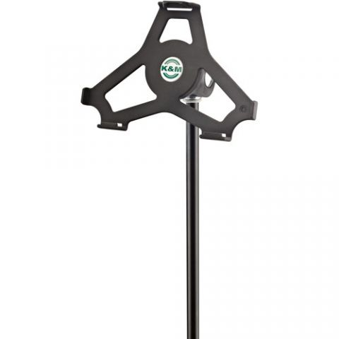 "K&M 19718 iPad Mini 4 Microphone Stand Holder (5/8"" Black) by KM"