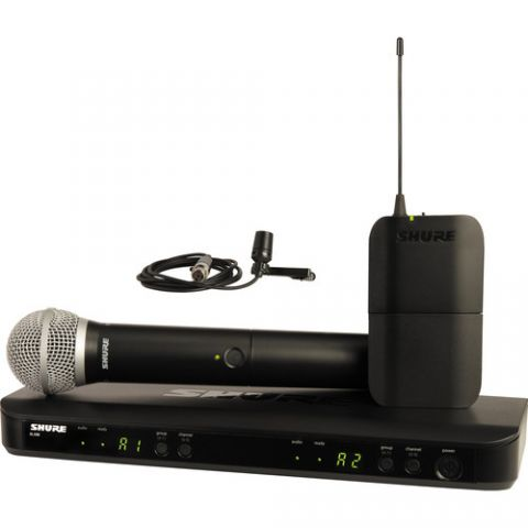 Shure  BLX1288/CVL Dual-Channel Handheld & Lavalier Combo Wireless Mic System (J10: 584 - 608 MHz) by Shure