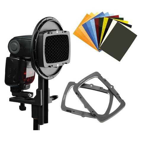 Lastolite Strobo Ezybox Hotshoe Mount Pro Kit, Includes Ezybox Hotshoe Plate, Ezybox Hotshoe Plate Adaptor, 2x Honeycomb Grids, 2x Gel Holders, Gel Set by Lastolite