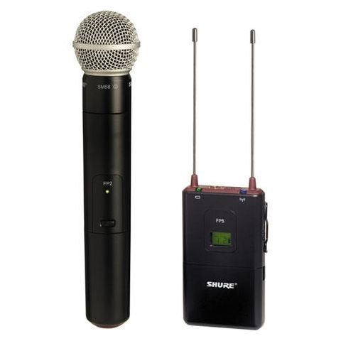 Shure FP25/SM58-H5 FP Wireless Handheld System with FP5 Diversity Receiver, FP2 Handheld Transmitter, SM58 Cardioid Capsule, H5 / 518 - 542MHz by Shure