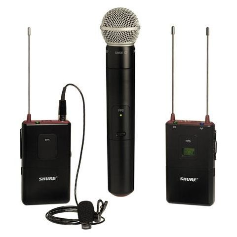 Shure FP125/83SM58-J3 Portable Bodypack/Handheld Wireless System with WL183 Omnidirectional Lavalier Mic, SM58 Cardioid Mic Capsule, J3/572 - 596MHz by Shure