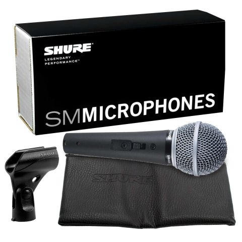 Shure SM48S-LC Cardioid Dynamic Handheld Wired Microphone with Lockable On / Off Switch. by Shure