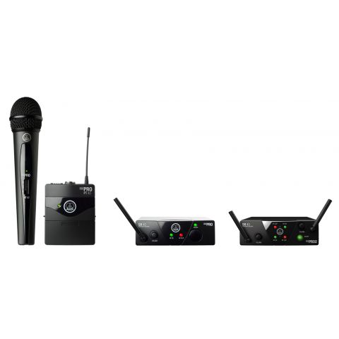 AKG 3348H00120 Acoustics Plug & play wireless microphone system, including SR40 mini single channel receiver, 1x PT40 mini pocket transmitter, 1x instrument cable, SMPS switched mode power supply (EU/US/UK/AU), 1x AA batteries by AKG