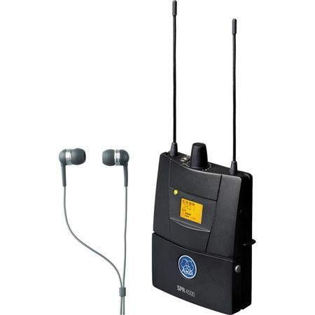 AKG Acoustics 3096H00300 SPR4500 IEM Bodypack Receiver with IP2 In-Ear Headphones, Band 8 570.1-600.5MHz, 35Hz-20MHz Audio Bandwidth, Stereo, Mono and Dual Mode by AKG