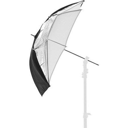 "Lastolite 37"" Compact Dual Fiberglass Umbrella with 8mm Shaft, Black/Silver/White by Lastolite"