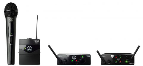 AKG 3347X00140 Acoustics Plug & play wireless microphone system, including SR40 mini single channel receiver, 1x HT40 mini handheld transmitter, SMPS switched mode power supply (EU/US/UK/AU), 1x AA battery by AKG