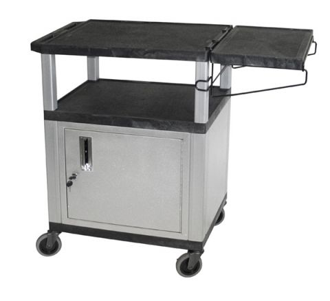 Black/Nickel 34-Inch Coffee Cart with Cabinet by N/A