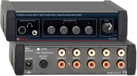 Radio Design Labs EZ-HSX4 4x1 Stereo Audio Input Switcher with Headphone Amp by N/A