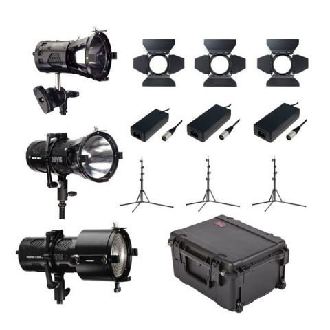 Hive Lighting C-3LKIT 3 Light Kit with 1 Bee 50-C Par Spot, 1 Wasp 100-C Par Spot and 1 Hornet 200-C Fresnel with 3 Stands and Case (Custom Foam) by Hive Lighting