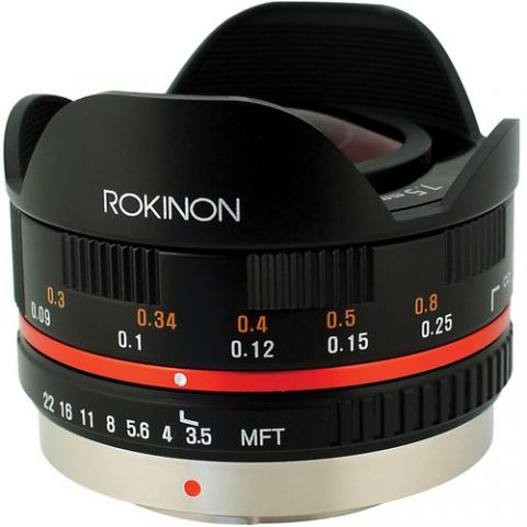 Rokinon 7.5mm f/3.5 Ultra Wide-Angle Fisheye Lens for Micro 4/3 (Black)  by Rokinon