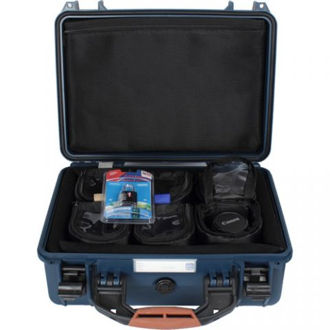 """Porta Brace PB-24LENS46 Hard Case with Six 4"""" Lens Cups for DSLRs or Small Equipment and Accessories (Blue)  by Porta Brace"""