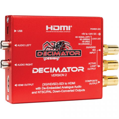 DECIMATOR 2 3G/HD/SD-SDI to HDMI Converter with Built-In NTSC/PAL Downscaler & Analog Audio Outputs   by Decimator