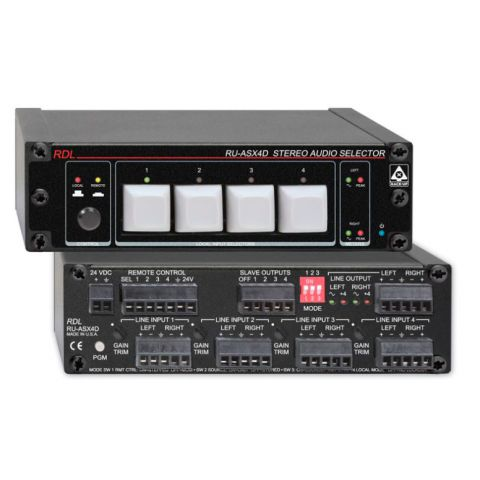 RDL RU-ASX4D 4x1 Stereo Balanced Audio Switcher - Terminal Block by RDL