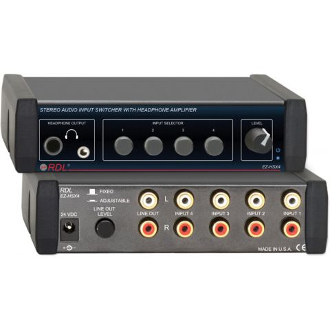 Radio Design Labs EZ-HSX4 4x1 Stereo Audio Input Switcher with Headphone Amp