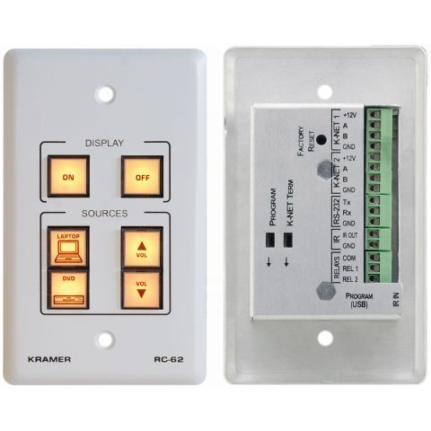 Kramer RC-62 6-Button Room Controller with Printed Group Labels - White by Kramer
