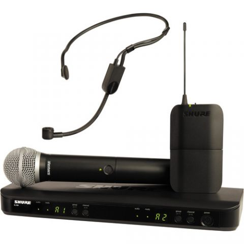 Shure  BLX1288/P31 Dual-Channel Headset & Handheld Combo Wireless Mic System (J10: 584 - 608 MHz)   by Shure