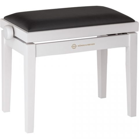 K&M 13710 Piano Bench Wooden Frame with White Matte Finish  by K&M
