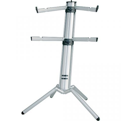 K&M 18860 Spider-Pro Double-Tier Keyboard Stand with Microphone Boom Connection and Tilt Action (Silver)  by K