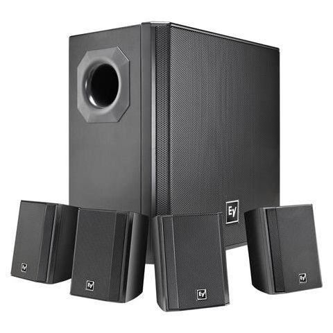 "Electro-Voice EVID-S44 Wall Mount Speaker System, Includes 4x EVID 2.1 2"" Surface Mount Satellite Speaker and EVID 40S Surface Mount Subwoofer, Black  by Electro-Voice"