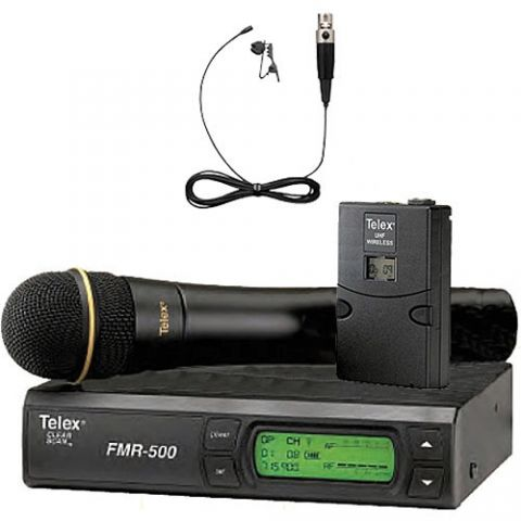 Telex FMR-500H/L Wireless Mic Combo System, Includes FMR-500 Receiver, HT-500 Handheld Transmitter with N/D767a Mic Head, WT-500 Beltpack, RE97LTX Mic, Band A  by Telex