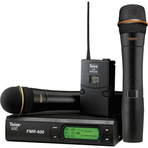 Telex FMR-500L Wireless Microphone System, Includes FMR-500 Diversity Receiver, WT-500 Beltpack Transmitter, ELM-22 Micromini Lav Mic, Band A 648-676MHz  by Telex