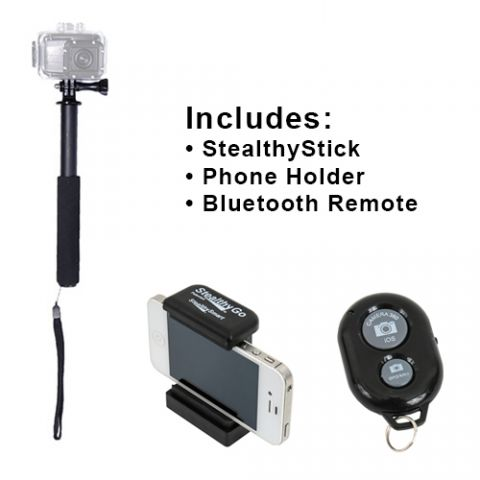 VariZoom STEALTHY STICK PLUS Ultimate POV Pole with iPhone / Android Remote Phone and Camera Support Pole by VariZoom