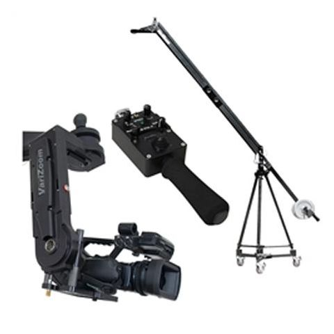 VariZoom VZ-QJ2K-CPJ5 Quick Jib Camera Crane with CPJR-K5 Remote Head and Jibstick Jr Joystick Controller, Includes Tripod and Dolly by VariZoom