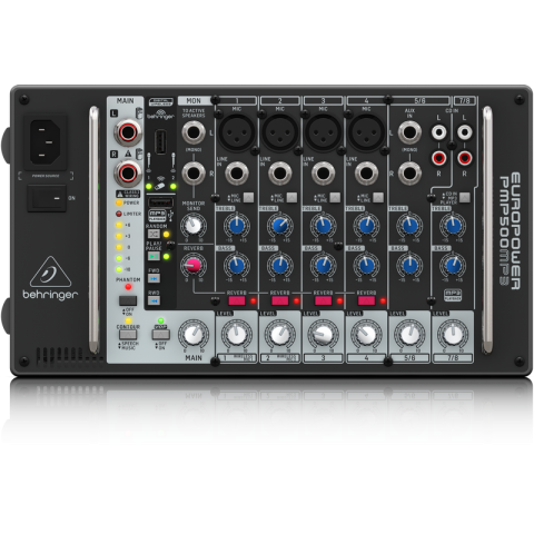 Behringer  PMP500MP3 Ultra-Compact 500-Watt 8-Channel Powered Mixer by Behringer