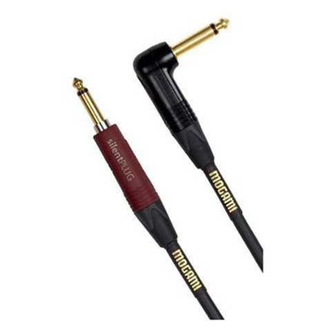 Mogami GOLD INST SILENT S-18R Instrument Cable, Straight Neutrik Silent Plug to Conventional Angled  (18') by Mogami