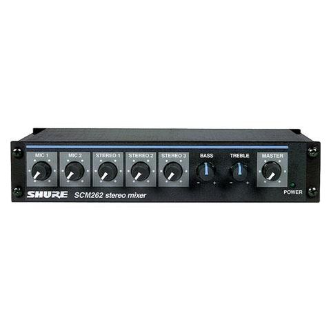 """Shure SCM262 Stereo Microphone Mixer with 2 XLR Mic Inputs, Stereo 1/4"""" Outputs, Stereo RCA Outputs, 12 V Phantom Power  by Shure"""