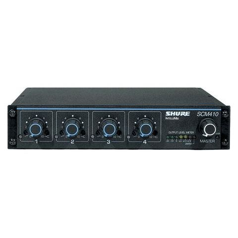 Shure SCM410 4 Channel Automatic Microphone Mixer, 100-120 V AC Power, 4 XLR Mic Inputs, 1 XLR Output  by Shure