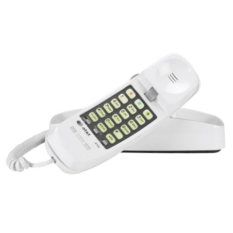 AT&T 210 Corded Trimline Phone with Speed Dial and Memory Buttons, White