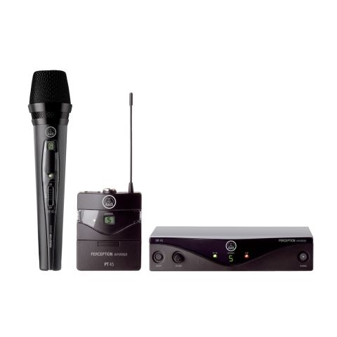 AKG Acoustics Perception Wireless 45 Presenter Set, Includes SR45 Receiver, PT45 Transmitter, CK99L Lavalier Microphone, Power Supply, Band U2 (614 to 634 MHz)  by AKG