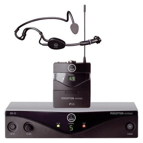 AKG Acoustics Perception Wireless High Performance Sports Set, Includes SR45 Wireless Stationary Receiver, PT45 Body-Pack Transmitter, C544 L Headworn Mic, Band A  by AKG