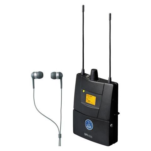 AKG Acoustics 3096H00320 SPR4500 IEM Bodypack Receiver with IP2 In-Ear Headphones, 600.1-605.9MHz and 614.1-630.5MHz, Stereo, Mono and Dual Mode  by AKG