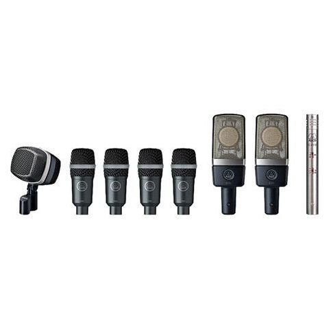 AKG Acoustics Premium Reference Drum Microphone Set, Includes D12 VR Dynamic Microphone, 2x C214 Condenser Microphone, C451 B Condenser Microphone, 4x D40 Microphone  by AKG