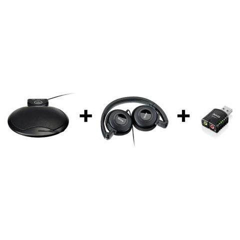 AKG Acoustics CBL410 Workstation Set, Includes CBL 410 PC Boundary Layer Microphone, K20 Stereo Conference Headphones, GHAP1 USB Adapter  by AKG
